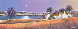 Moonrise At River Farm by John Mckinstry - Original Painting on Box Canvas sized 32x12 inches. Available from Whitewall Galleries